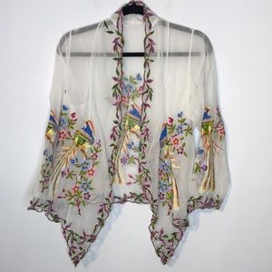 Vintage embroidered lace sheer kimono open cardi